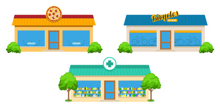 home ownership: Modern city store buildings with trees and bushes Illustration