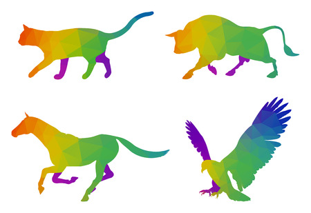 flapping: A modern multicolored logo templates for cat, bull, running horse and flying eagle