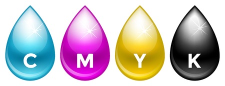 cmyk: Blue, magenta, yellow and black cmyk paint drops