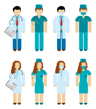 professional occupation: Male and female doctor and surgeon characters in scrubs