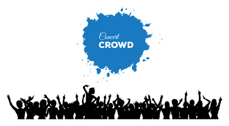 spectators: A cheering and dancing crowd of people at concert, disco, club