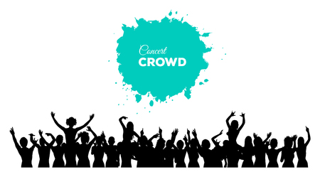 crowd cheering: A cheering and dancing crowd of people at concert, disco, club