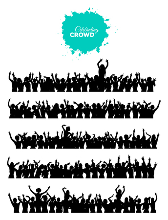A set of 5 silhouettes of cheering and dancing crowd of people at concert, disco, club etc. Ilustração