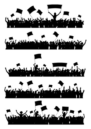 a group of people protesting: A set of 5 silhouettes of cheering or protesting crowd with flags and banners.