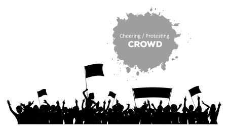 siluetas de mujeres: Una silueta de vítores o multitud que protesta con banderas y estandartes