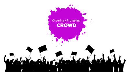 menschenmenge: Eine Silhouette Jubel oder Protest Menge mit Fahnen und Banner