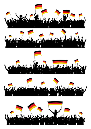 5 people: A set of 5 silhouettes of cheering or protesting crowd of people with German flags and banners.