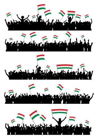 crowd cheering: A set of 5 silhouettes of cheering or protesting crowd of people with Hungarian flags and banners.