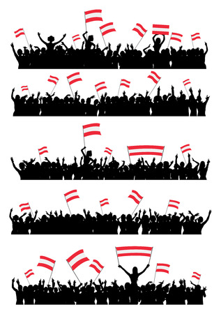 a group of people protesting: A set of 5 silhouettes of cheering or protesting crowd of people with Austrian flags and banners.