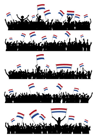 a group of people protesting: A set of 5 silhouettes of cheering or protesting crowd of people with flags and banners of Netherlands.