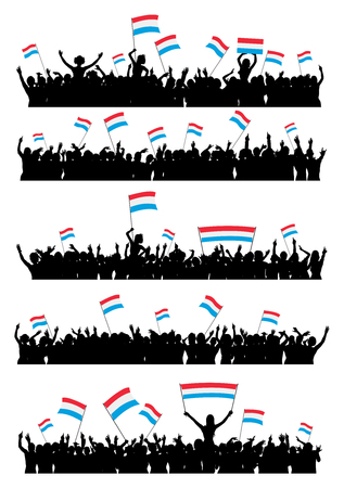 a group of people protesting: A set of 5 silhouettes of cheering or protesting crowd of people with flags and banners of Luxembourg. Illustration