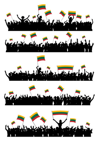 crowd cheering: A set of 5 silhouettes of cheering or protesting crowd of people with Lithuanian flags and banners.