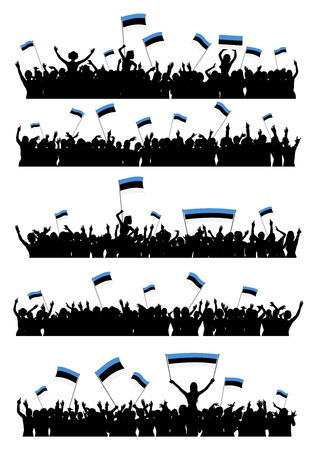 crowd cheering: A set of 5 silhouettes of cheering or protesting crowd of people with Estonian flags and banners.