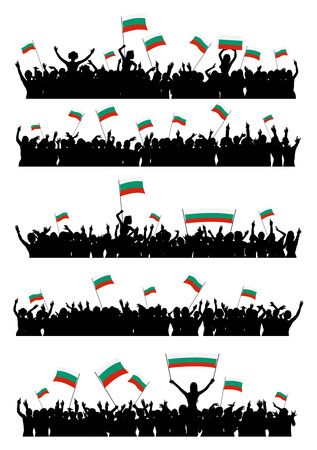 A set of 5 silhouettes of cheering or protesting crowd of people with Bulgarian flags and banners.