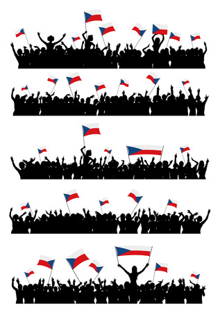 protesting: A set of 5 silhouettes of cheering or protesting crowd of people with Czech flags and banners.