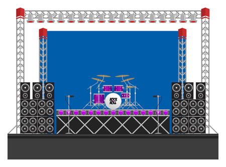 drum kit: Big modern concert and festival stage with drum kit, speakers, lighting rigs, drum riser, microphones and equipment