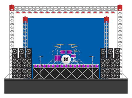 Grande concerto moderno e palco del festival con kit di batteria, altoparlanti, impianti di illuminazione, tamburo riser, microfoni e attrezzature