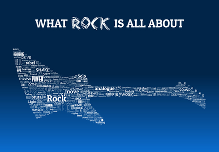 Rock and metal guitar made of related music words the real rock music is made of Vetores