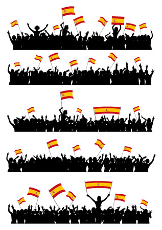 a group of people protesting: A set of 5 silhouettes of cheering or protesting crowd of people with flags and banners of Spain.
