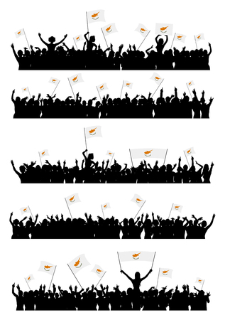 5 people: A set of 5 silhouettes of cheering or protesting crowd of people with flags and banners of Cyprus. Illustration