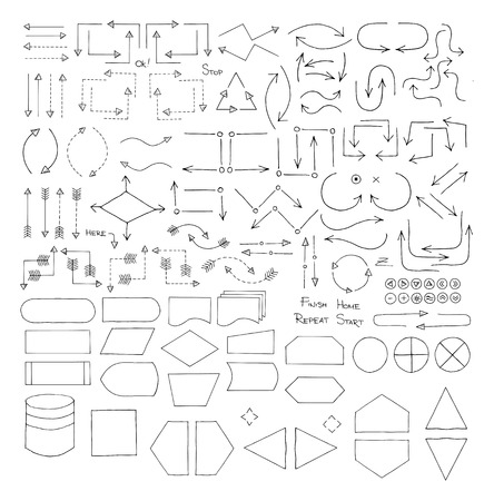 Doodle set of flowchart elements, arrows, blocks, objects, names and icons