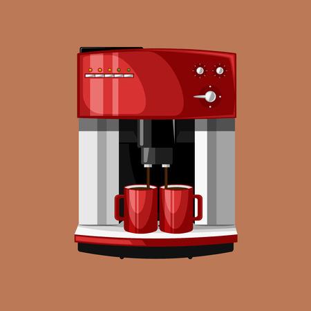 Koffiezetapparaat en twee kopjes koffie in de ochtend