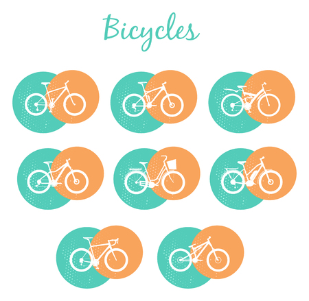 mtb: Set of various sport, city and electric bicycles in red and teal Illustration