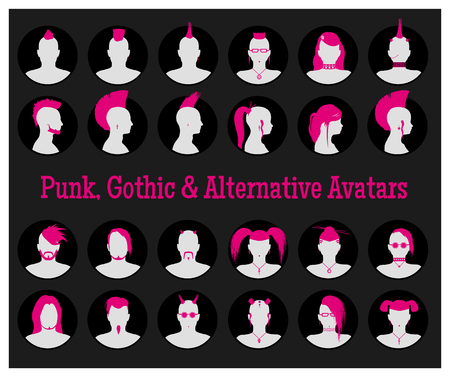 goth: Set of anonymous male and female goth, punk and alternative people avatars Illustration