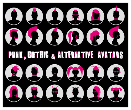 userpic: Set of anonymous male and female goth, punk and alternative people avatars Illustration