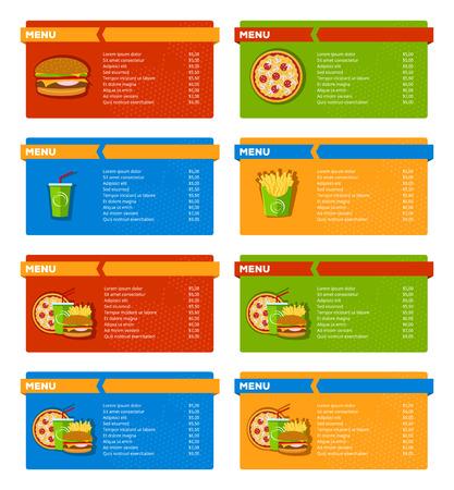 Conjunto de banderas menú de comida rápida con la hamburguesa, pizza, refrescos y patatas fritas