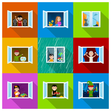 'rock drill': Different people in city building windows, mother with child, drill neighbour, party man, rock music fan, girl with flowers, naughty cat, boy feeding fish, bored girl and old man training with weights Stock Photo