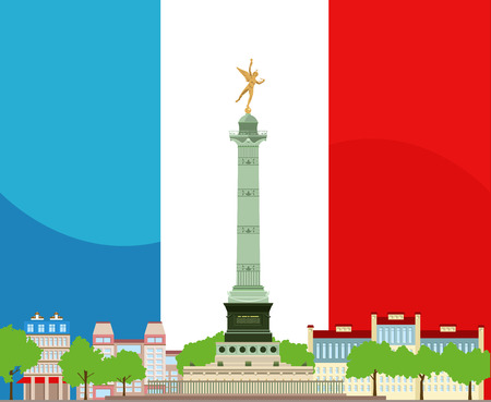 bastille: Paris Place de la Bastille design with French flag, July Columns and houses