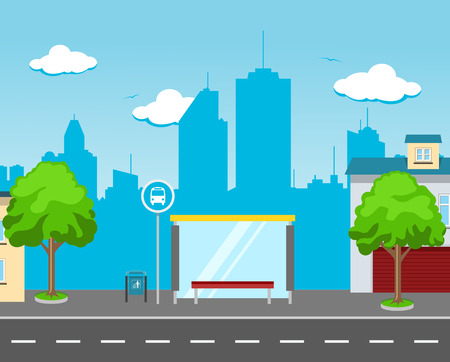 bus station: Bus station in the big city street with a skyline in the background and some buildings, bushes and trees Illustration