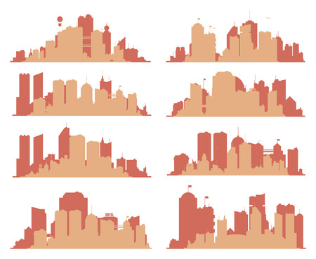 skylines: Set of generic big city skylines with building, towers and bridges