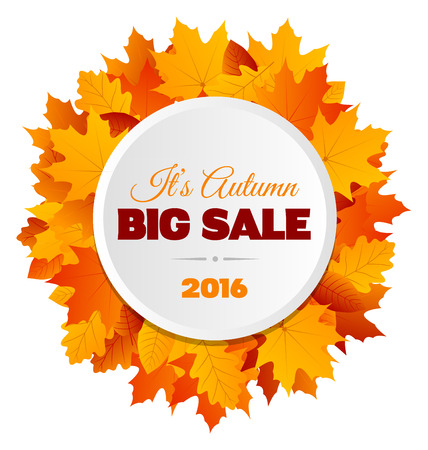 big leafs: A design for a big autumn sale postcard with lots of yellow, orange and brown leafs