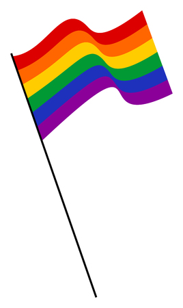 freedom couple: Waving rainbow LGBT flag for public events against homophobia and transphobia. Illustration