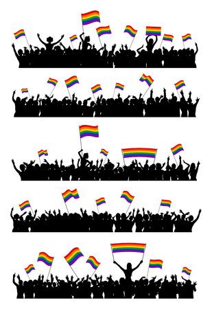 silueta hombre: Animando o protestar las personas LGBT que agitan banderas del arco iris y la celebraci�n de carteles. Multitud en un evento contra la homofobia y la transfobia.