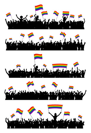 man symbol: Cheering or protesting LGBT people waving rainbow flags and holding posters. Crowd at an event against homophobia and transphobia.