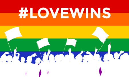 man symbol: Cheering or protesting LGBT people in front of a rainbow flag with hashtag lovewins. Crowd at an event against homophobia and transphobia.