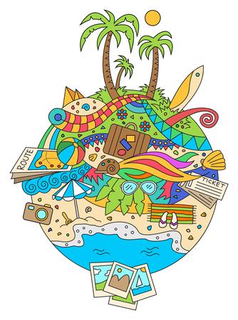 Cartoon été doodle conception de vacances illustration. fond coloré avec des objets de vacances d'été et de voyage.