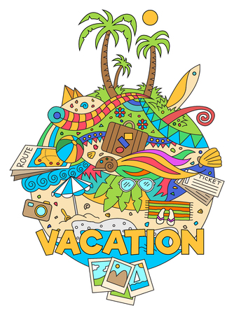 wave tourist: Cartoon doodle summer vacation design illustration. colorful background with summer vacation and travel objects.