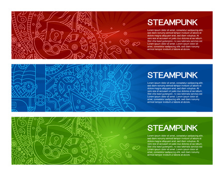 headings: Steampunk banner headers with outline doodle drawing designs, headings and text with various steampunk objects and symbols, pilot hat, coctail, gears, tubes