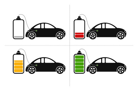 hybrid: Icons with electric hybrid car loading at an accumulator in four stages like empty, low, middle and fully loaded Illustration