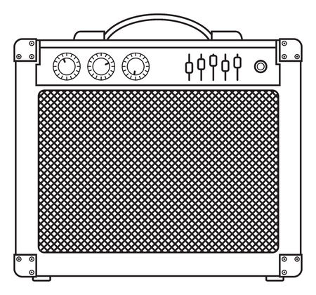 lead guitar: Classic guitar and bass amplifier outlined and in black and white