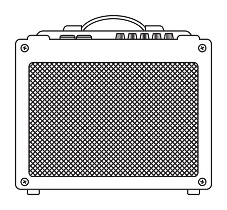 speaker box: Classic guitar and bass amplifier outlined and in black and white
