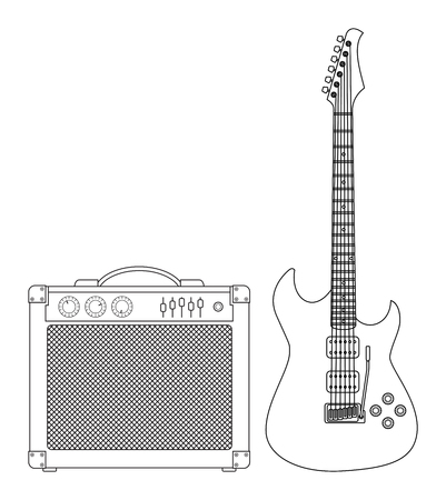 lead guitar: Rock electric guitar and amplifier outlined and in black and white