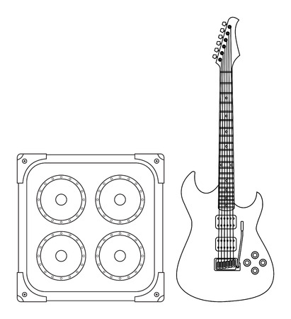 lead guitar: Rock electric guitar and amplifier for concerts and festivals outlined and in black and white