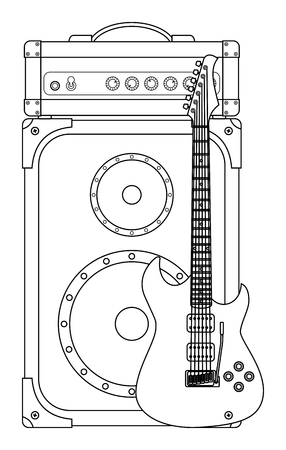 lead guitar: Rock electric guitar standing at an amplifier for concerts and festivals outlined and in black and white
