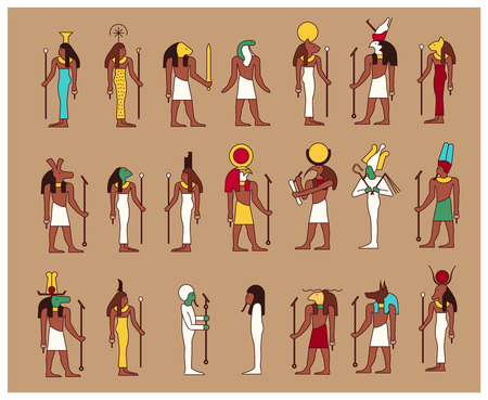 Set of 21 ancient male and female Egypt gods drawn in classic Egyptian style