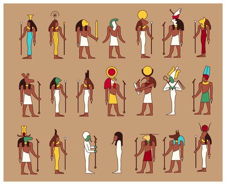 Zestaw 21 męskich i żeńskich starożytnych bogów Egiptu rysowane w klasycznym stylu egipskim